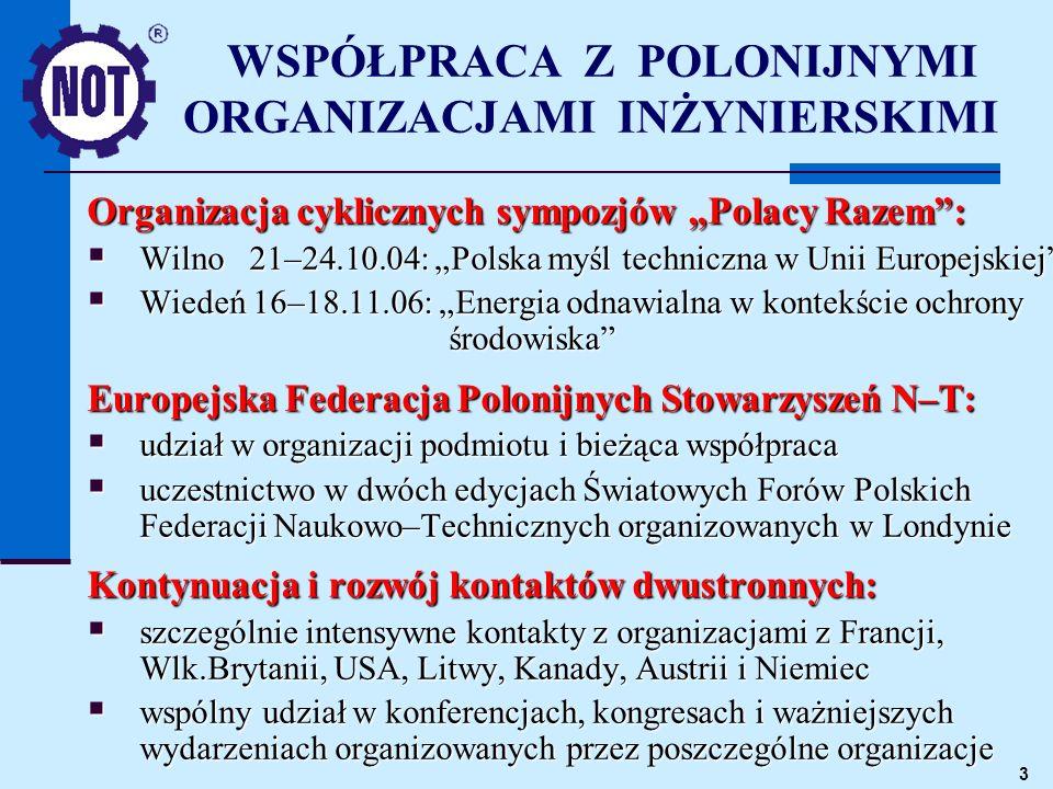 3 WSPÓŁPRACA Z POLONIJNYMI ORGANIZACJAMI INŻYNIERSKIMI Organizacja cyklicznych sympozjów Polacy Razem: Wilno 21–24.10.04: Polska myśl techniczna w Uni