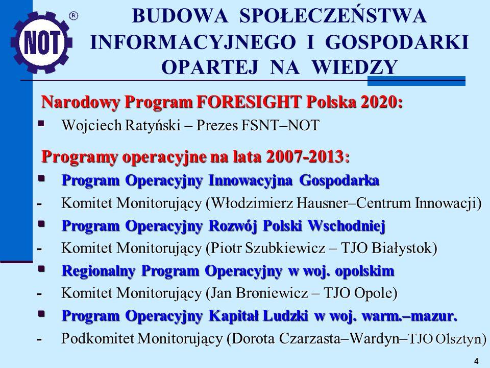 4 BUDOWA SPOŁECZEŃSTWA INFORMACYJNEGO I GOSPODARKI OPARTEJ NA WIEDZY Narodowy Program FORESIGHT Polska 2020: Wojciech Ratyński – Prezes FSNT–NOT Wojci