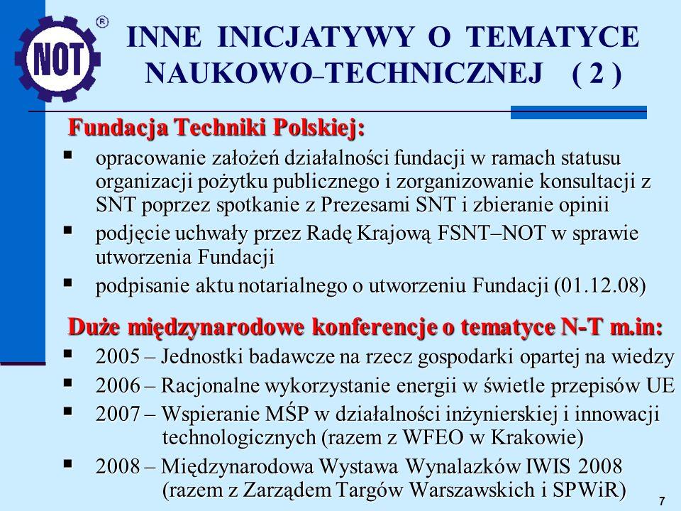 7 Fundacja Techniki Polskiej: opracowanie założeń działalności fundacji w ramach statusu organizacji pożytku publicznego i zorganizowanie konsultacji z SNT poprzez spotkanie z Prezesami SNT i zbieranie opinii opracowanie założeń działalności fundacji w ramach statusu organizacji pożytku publicznego i zorganizowanie konsultacji z SNT poprzez spotkanie z Prezesami SNT i zbieranie opinii podjęcie uchwały przez Radę Krajową FSNT–NOT w sprawie utworzenia Fundacji podjęcie uchwały przez Radę Krajową FSNT–NOT w sprawie utworzenia Fundacji podpisanie aktu notarialnego o utworzeniu Fundacji (01.12.08) podpisanie aktu notarialnego o utworzeniu Fundacji (01.12.08) Duże międzynarodowe konferencje o tematyce N-T m.in: 2005 – Jednostki badawcze na rzecz gospodarki opartej na wiedzy 2005 – Jednostki badawcze na rzecz gospodarki opartej na wiedzy 2006 – Racjonalne wykorzystanie energii w świetle przepisów UE 2006 – Racjonalne wykorzystanie energii w świetle przepisów UE 2007 – Wspieranie MŚP w działalności inżynierskiej i innowacji technologicznych (razem z WFEO w Krakowie) 2007 – Wspieranie MŚP w działalności inżynierskiej i innowacji technologicznych (razem z WFEO w Krakowie) 2008 – Międzynarodowa Wystawa Wynalazków IWIS 2008 (razem z Zarządem Targów Warszawskich i SPWiR) 2008 – Międzynarodowa Wystawa Wynalazków IWIS 2008 (razem z Zarządem Targów Warszawskich i SPWiR) INNE INICJATYWY O TEMATYCE NAUKOWO – TECHNICZNEJ ( 2 )