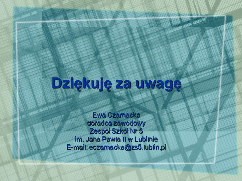 Dziękuję za uwagę Ewa Czarnacka doradca zawodowy Zespół Szkół Nr 5 im.