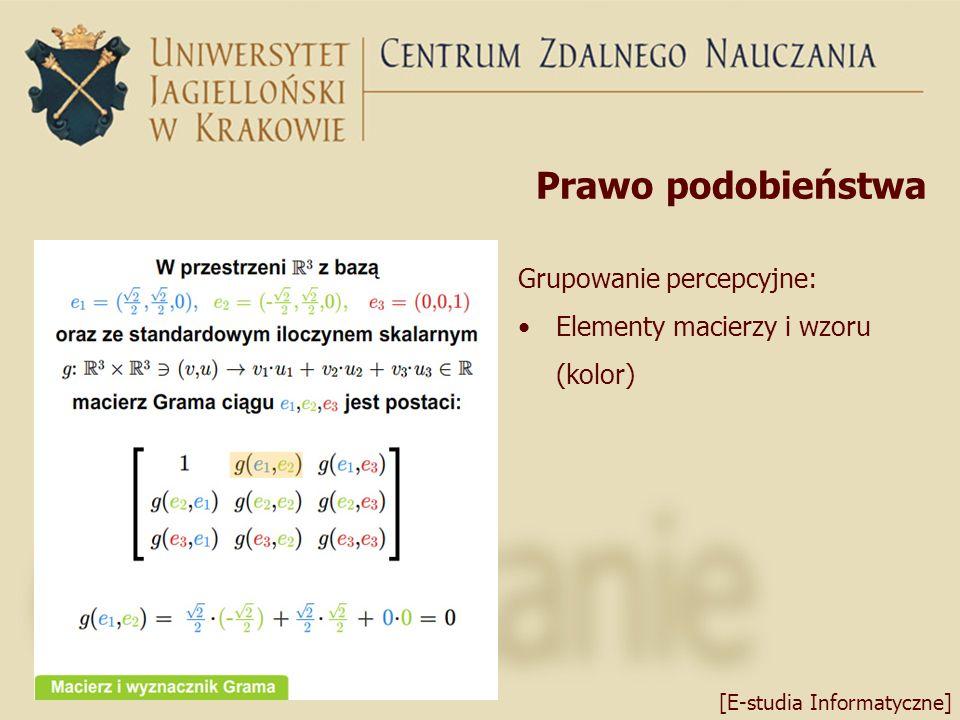 Prawo podobieństwa Grupowanie percepcyjne: Elementy macierzy i wzoru (kolor) [E-studia Informatyczne]