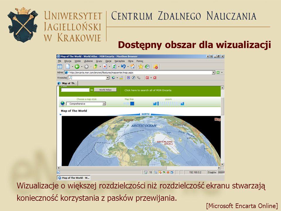 Dostępny obszar dla wizualizacji [Microsoft Encarta Online] Wizualizacje o większej rozdzielczości niż rozdzielczość ekranu stwarzają konieczność korz