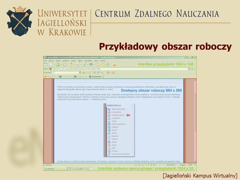 Przykładowy obszar roboczy [Jagielloński Kampus Wirtualny]