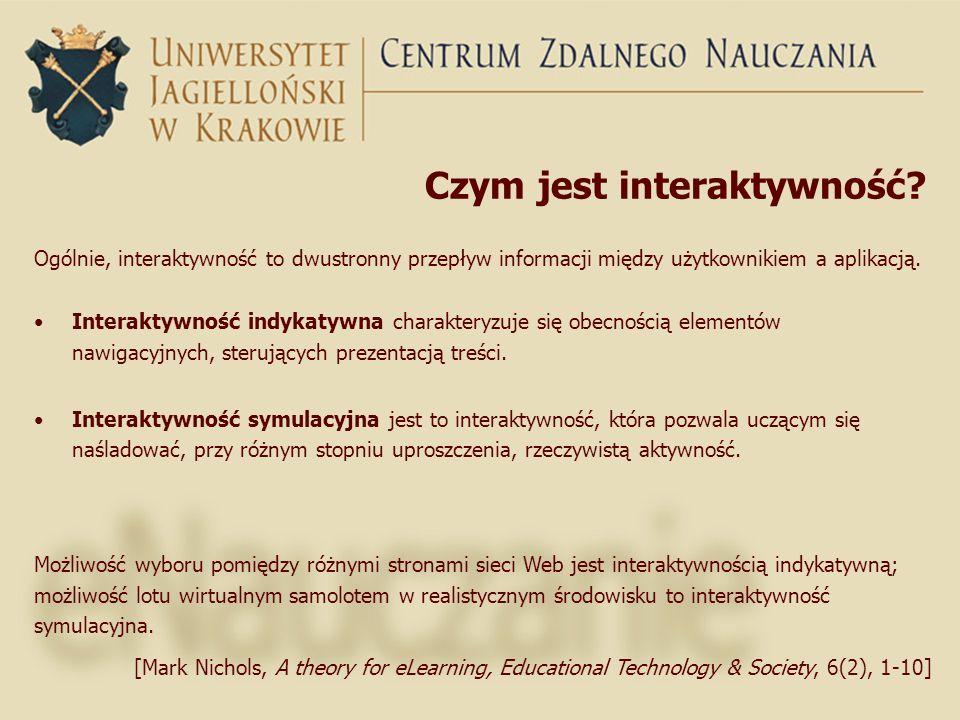 Czym jest interaktywność? Ogólnie, interaktywność to dwustronny przepływ informacji między użytkownikiem a aplikacją. Interaktywność indykatywna chara