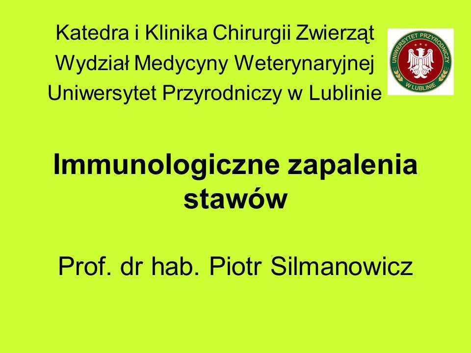 Immunologiczne zapalenia stawów Charakterystyka: - Mnogie, -Często symetryczne, -Obrzęki -Wypełnienie płynem -Zapalenie błony maziowej -Destrukcja chrząstki stawowej (erozyjne) - Często współistnieją inne choroby ( lupus erythematosus)