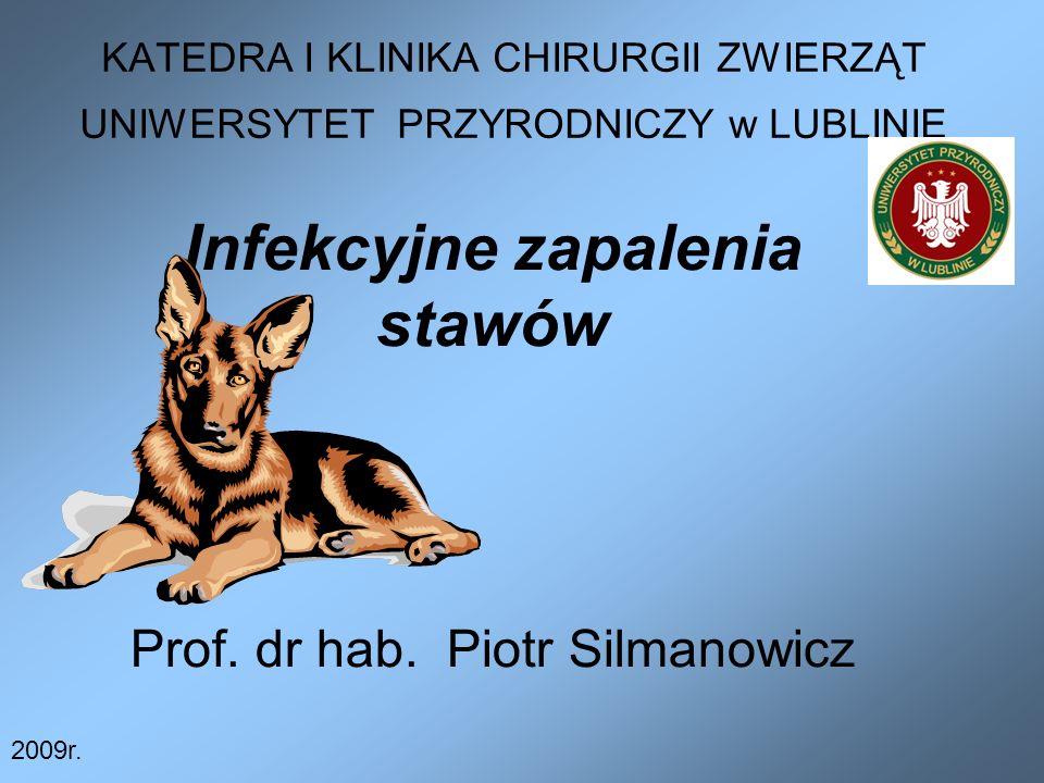 KATEDRA I KLINIKA CHIRURGII ZWIERZĄT UNIWERSYTET PRZYRODNICZY w LUBLINIE Infekcyjne zapalenia stawów Prof. dr hab. Piotr Silmanowicz 2009r.