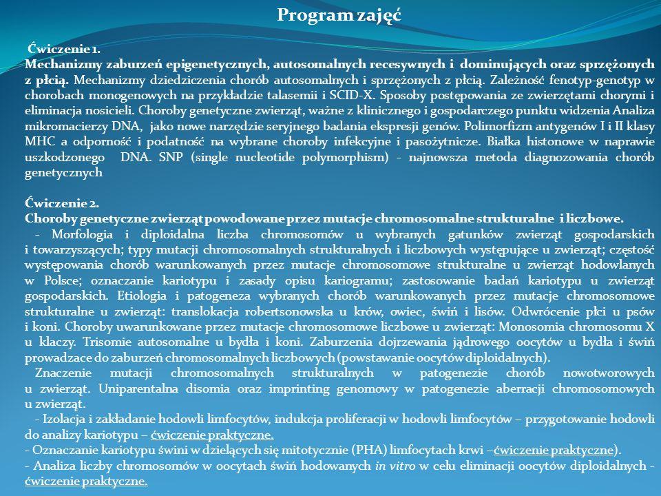 Program zajęć Ćwiczenie 1. Mechanizmy zaburzeń epigenetycznych, autosomalnych recesywnych i dominujących oraz sprzężonych z płcią. Mechanizmy dziedzic