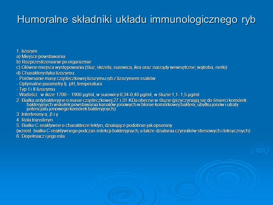 Humoralne składniki układu immunologicznego ryb 1. lizozym a) Miejsce powstawania b) Rozprzestrzenianie po organizmie c) Główne miejsca występowania (