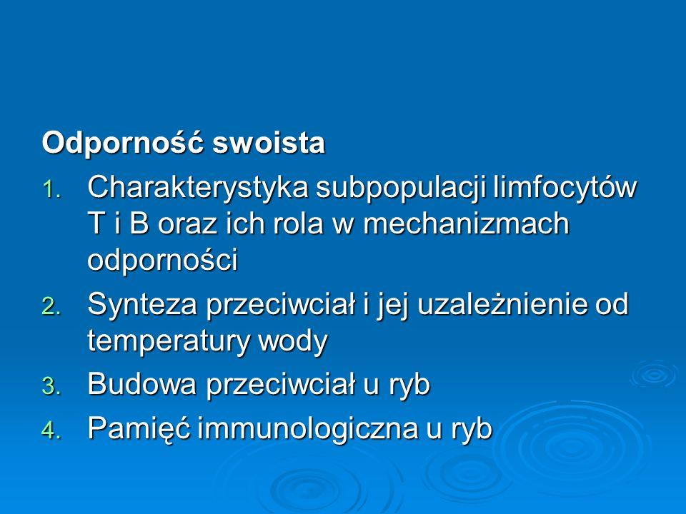 Odporność swoista 1. Charakterystyka subpopulacji limfocytów T i B oraz ich rola w mechanizmach odporności 2. Synteza przeciwciał i jej uzależnienie o