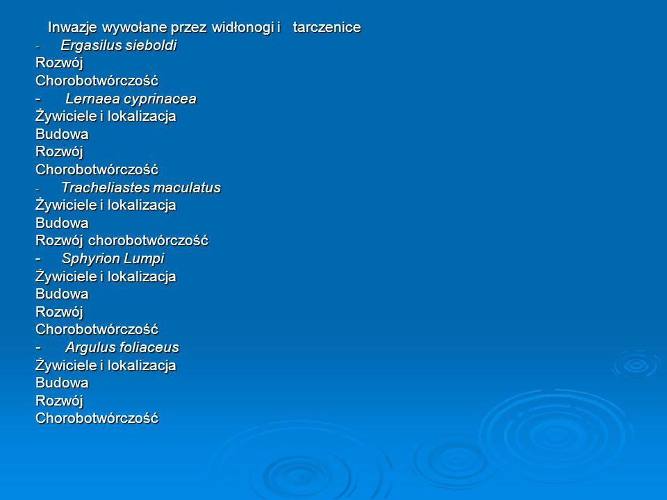 Inwazje wywołane przez widłonogi i tarczenice Inwazje wywołane przez widłonogi i tarczenice - Ergasilus sieboldi RozwójChorobotwórczość - Lernaea cypr