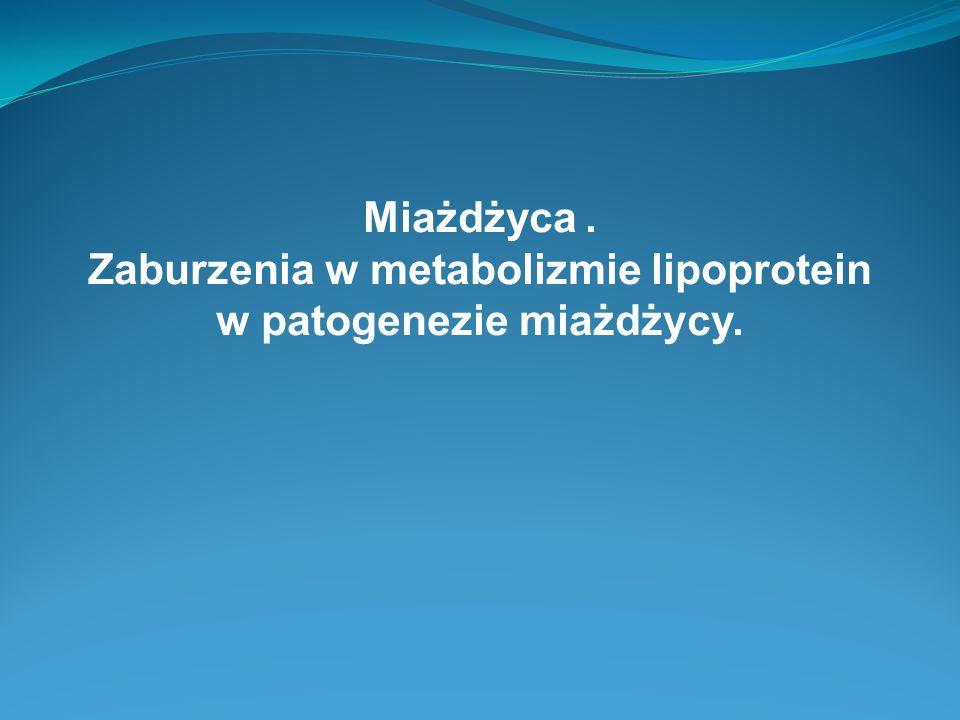 Miażdżyca. Zaburzenia w metabolizmie lipoprotein w patogenezie miażdżycy.