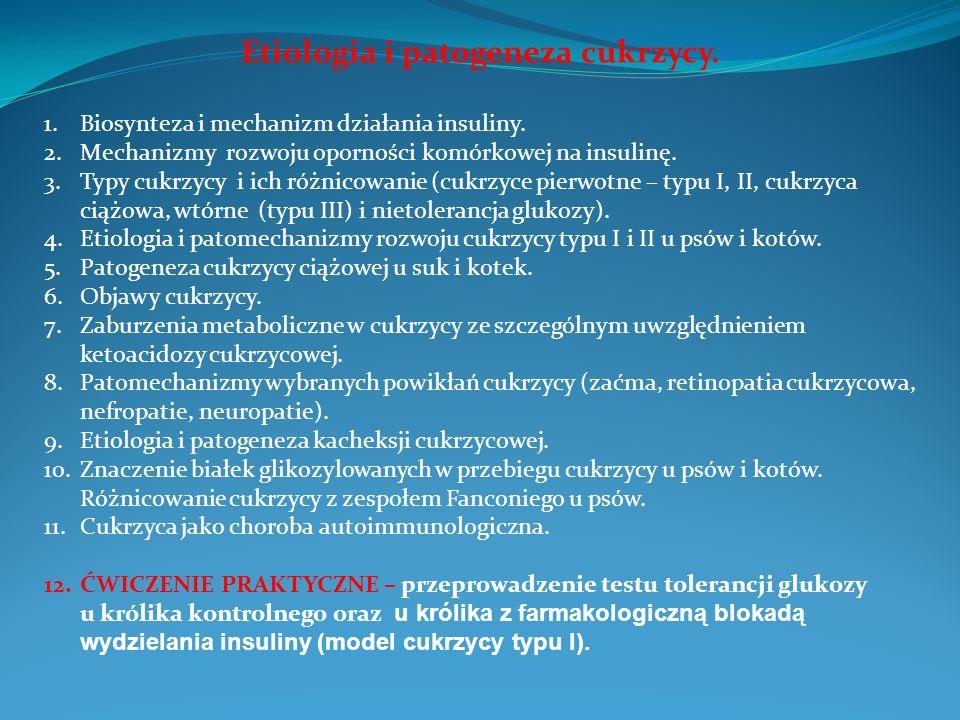 Etiologia i patogeneza cukrzycy. 1.Biosynteza i mechanizm działania insuliny. 2.Mechanizmy rozwoju oporności komórkowej na insulinę. 3.Typy cukrzycy i