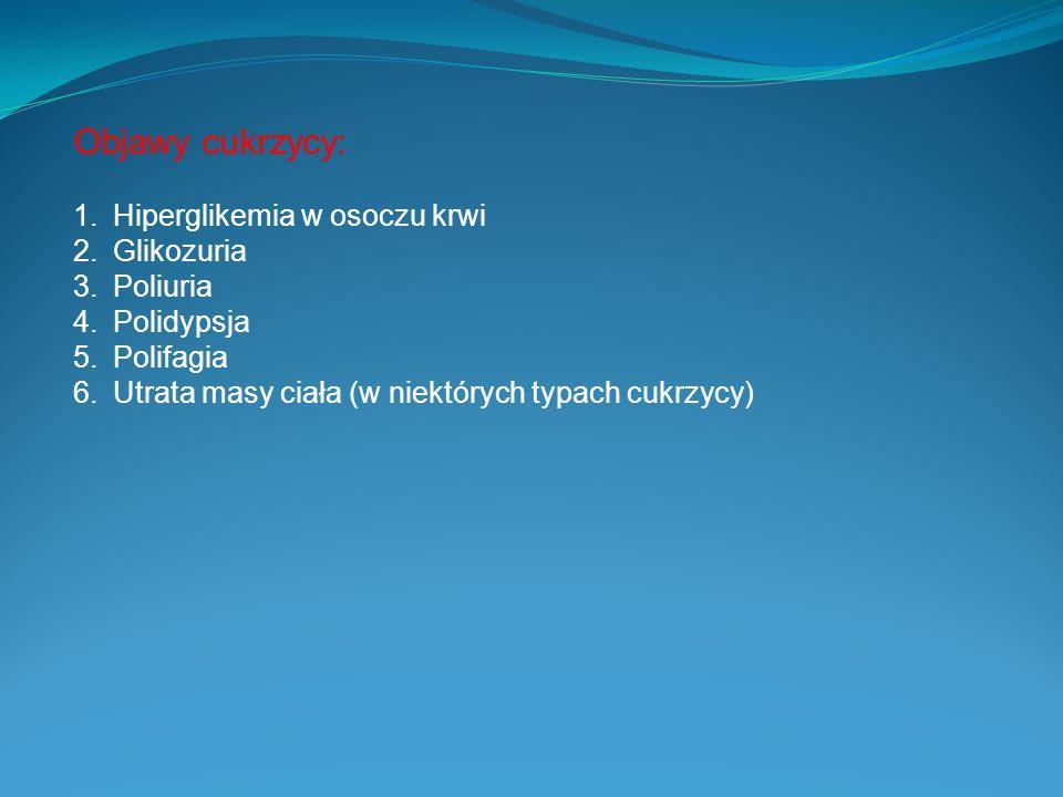 Objawy cukrzycy: 1.Hiperglikemia w osoczu krwi 2.Glikozuria 3.Poliuria 4.Polidypsja 5.Polifagia 6.Utrata masy ciała (w niektórych typach cukrzycy)