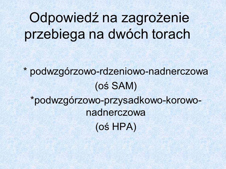 Odpowiedź na zagrożenie przebiega na dwóch torach * podwzgórzowo-rdzeniowo-nadnerczowa (oś SAM) *podwzgórzowo-przysadkowo-korowo- nadnerczowa (oś HPA)
