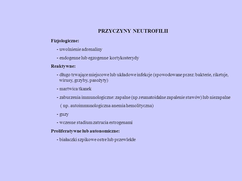 PRZYCZYNY NEUTROFILII Fizjologiczne: - uwolnienie adrenaliny - endogenne lub egzogenne kortykosterydy Reaktywne: - długo trwające miejscowe lub układowe infekcje (spowodowane przez: bakterie, riketsje, wirusy, grzyby, pasożyty) - martwica tkanek - zaburzenia immunologiczne: zapalne (np.reumatoidalne zapalenie stawów) lub niezapalne ( np.