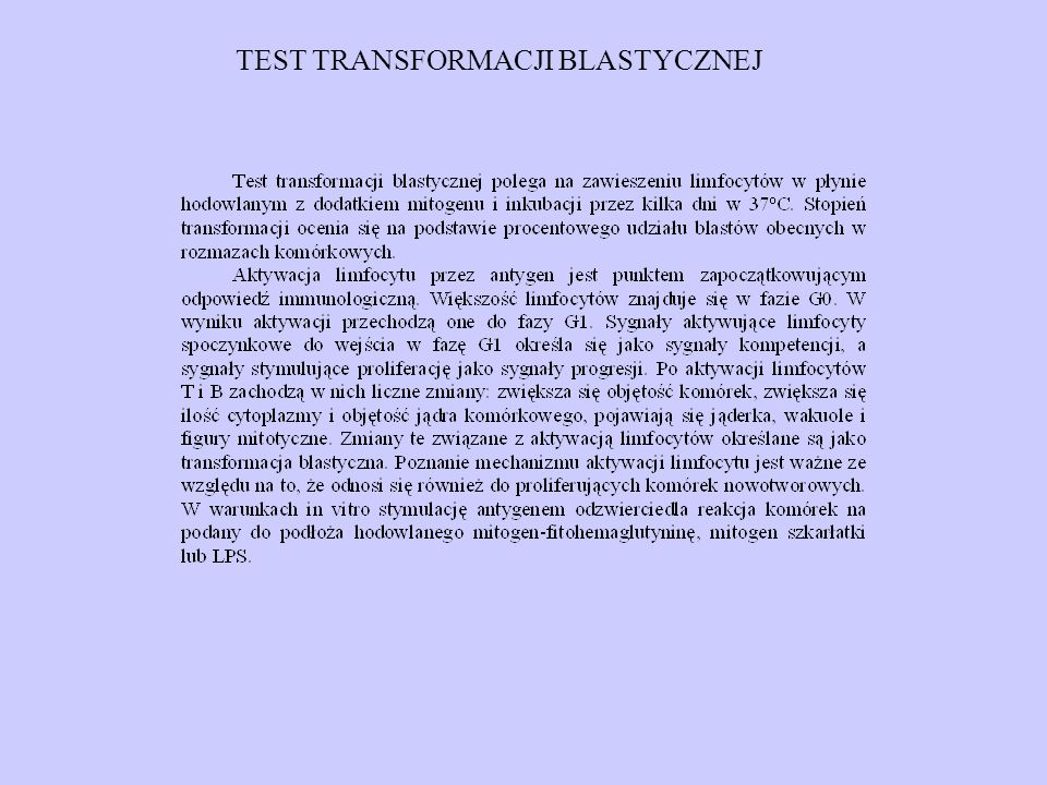 TEST TRANSFORMACJI BLASTYCZNEJ
