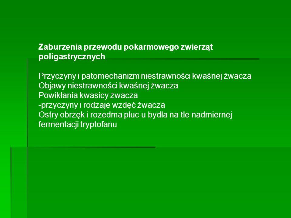 Zaburzenia przewodu pokarmowego zwierząt poligastrycznych Przyczyny i patomechanizm niestrawności kwaśnej żwacza Objawy niestrawności kwaśnej żwacza P