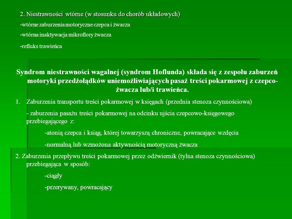 2. Niestrawności wtórne (w stosunku do chorób układowych) -wtórne zaburzenia motoryczne czepca i żwacza -wtórna inaktywacja mikroflory żwacza -refluks