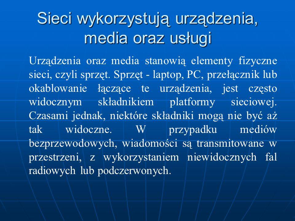 Sieci wykorzystują urządzenia, media oraz usługi Urządzenia oraz media stanowią elementy fizyczne sieci, czyli sprzęt. Sprzęt - laptop, PC, przełączni