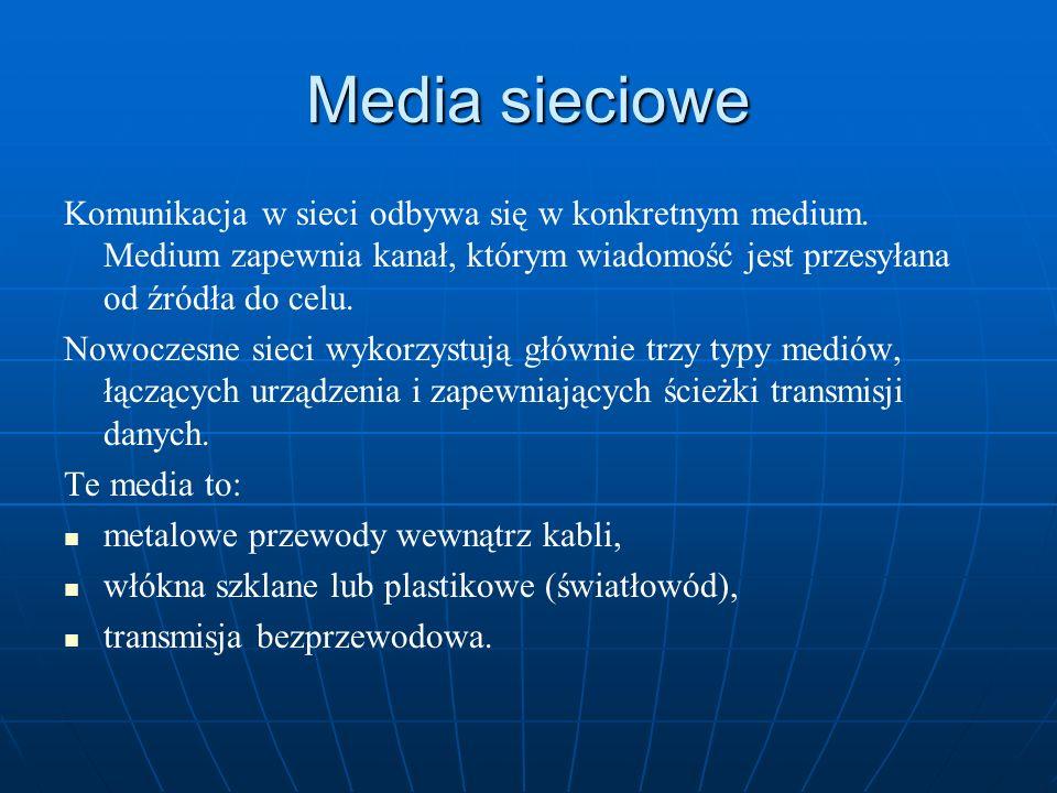 Media sieciowe Komunikacja w sieci odbywa się w konkretnym medium. Medium zapewnia kanał, którym wiadomość jest przesyłana od źródła do celu. Nowoczes