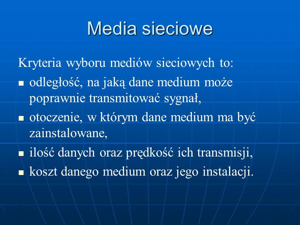 Media sieciowe Kryteria wyboru mediów sieciowych to: odległość, na jaką dane medium może poprawnie transmitować sygnał, otoczenie, w którym dane mediu