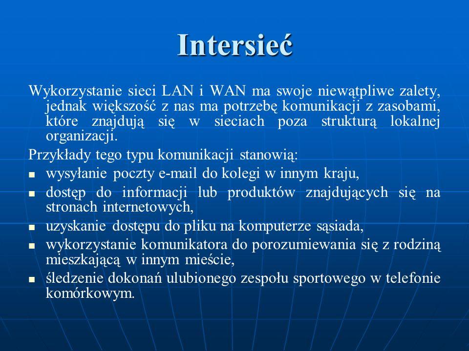 Intersieć Wykorzystanie sieci LAN i WAN ma swoje niewątpliwe zalety, jednak większość z nas ma potrzebę komunikacji z zasobami, które znajdują się w s