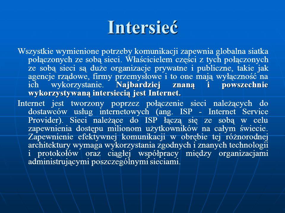 Intersieć Najbardziej znaną i powszechnie wykorzystywaną intersiecią jest Internet. Wszystkie wymienione potrzeby komunikacji zapewnia globalna siatka