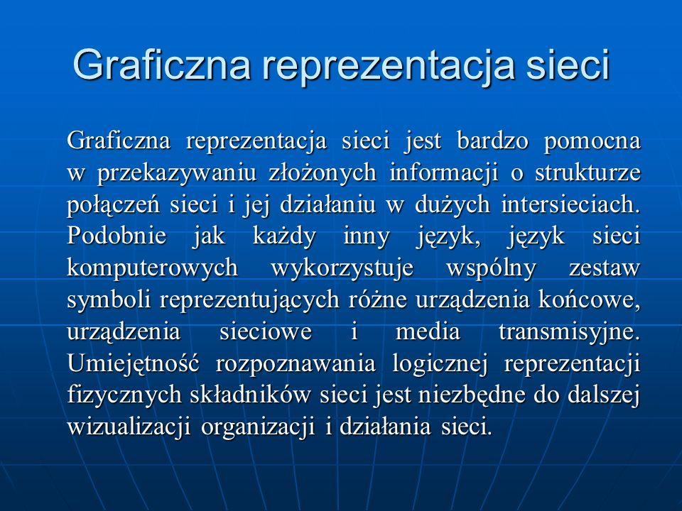 Graficzna reprezentacja sieci Graficzna reprezentacja sieci jest bardzo pomocna w przekazywaniu złożonych informacji o strukturze połączeń sieci i jej