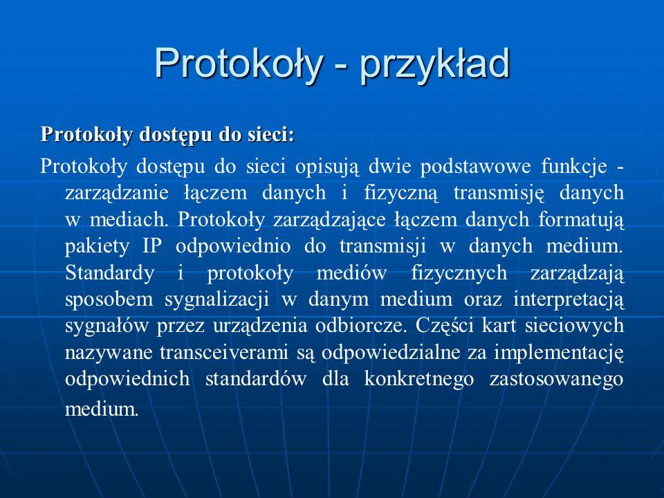 Protokoły - przykład Protokoły dostępu do sieci: Protokoły dostępu do sieci opisują dwie podstawowe funkcje - zarządzanie łączem danych i fizyczną tra