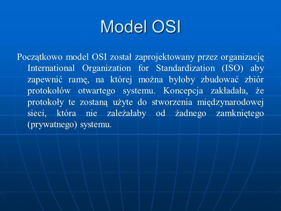 Model OSI Początkowo model OSI został zaprojektowany przez organizację International Organization for Standardization (ISO) aby zapewnić ramę, na któr