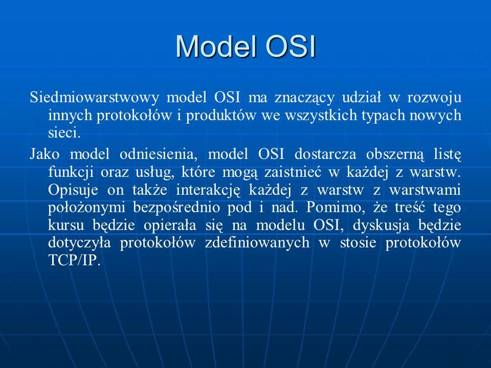 Model OSI Siedmiowarstwowy model OSI ma znaczący udział w rozwoju innych protokołów i produktów we wszystkich typach nowych sieci. Jako model odniesie