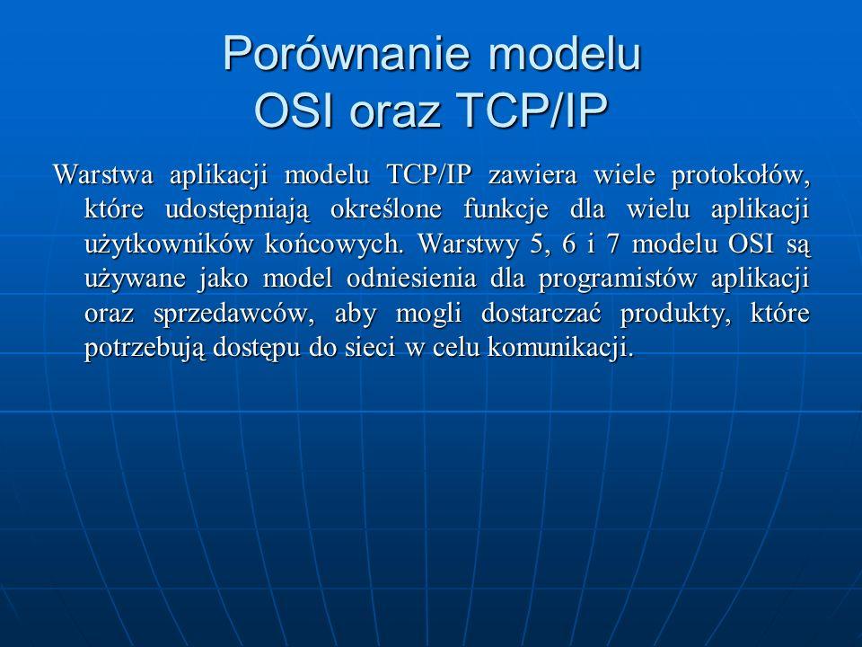 Porównanie modelu OSI oraz TCP/IP Warstwa aplikacji modelu TCP/IP zawiera wiele protokołów, które udostępniają określone funkcje dla wielu aplikacji u