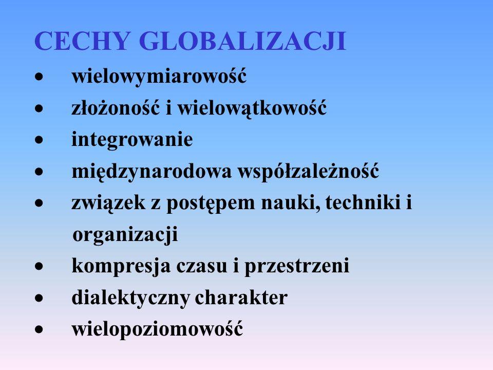 CECHY GLOBALIZACJI wielowymiarowość złożoność i wielowątkowość integrowanie międzynarodowa współzależność związek z postępem nauki, techniki i organiz