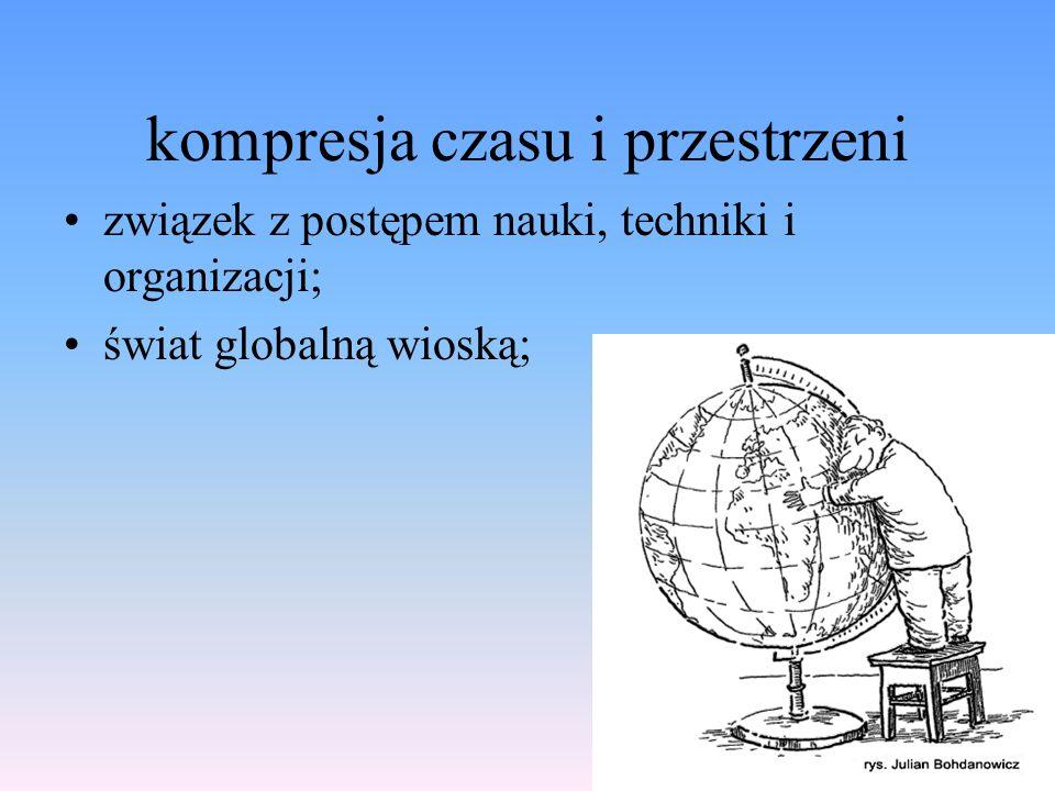 kompresja czasu i przestrzeni związek z postępem nauki, techniki i organizacji; świat globalną wioską;