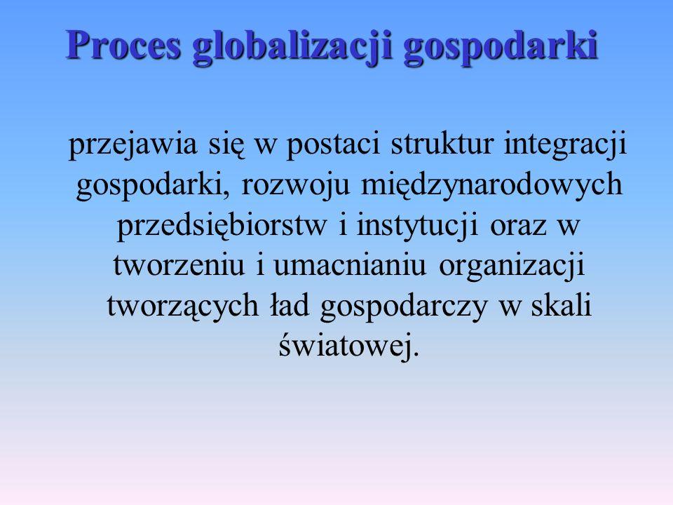 Proces globalizacji gospodarki przejawia się w postaci struktur integracji gospodarki, rozwoju międzynarodowych przedsiębiorstw i instytucji oraz w tworzeniu i umacnianiu organizacji tworzących ład gospodarczy w skali światowej.