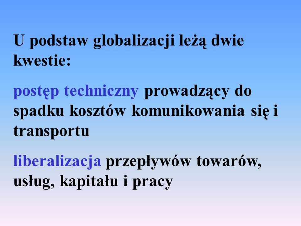 U podstaw globalizacji leżą dwie kwestie: postęp techniczny prowadzący do spadku kosztów komunikowania się i transportu liberalizacja przepływów towarów, usług, kapitału i pracy
