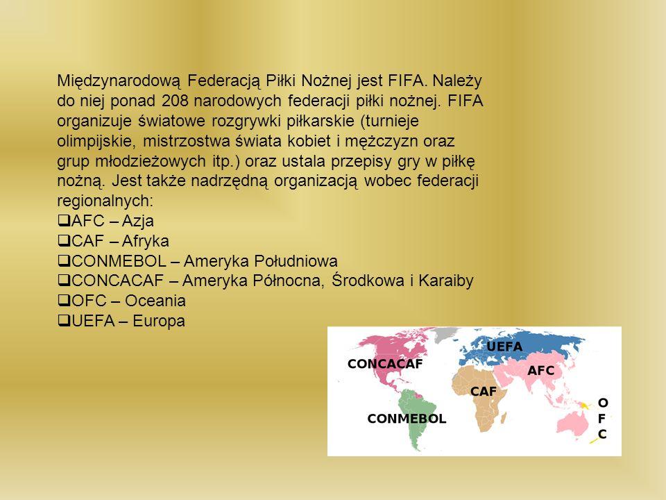 Międzynarodową Federacją Piłki Nożnej jest FIFA. Należy do niej ponad 208 narodowych federacji piłki nożnej. FIFA organizuje światowe rozgrywki piłkar