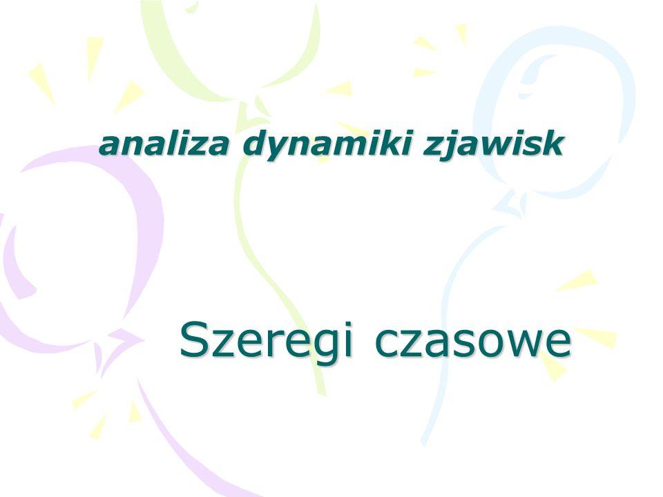 analiza dynamiki zjawisk Szeregi czasowe