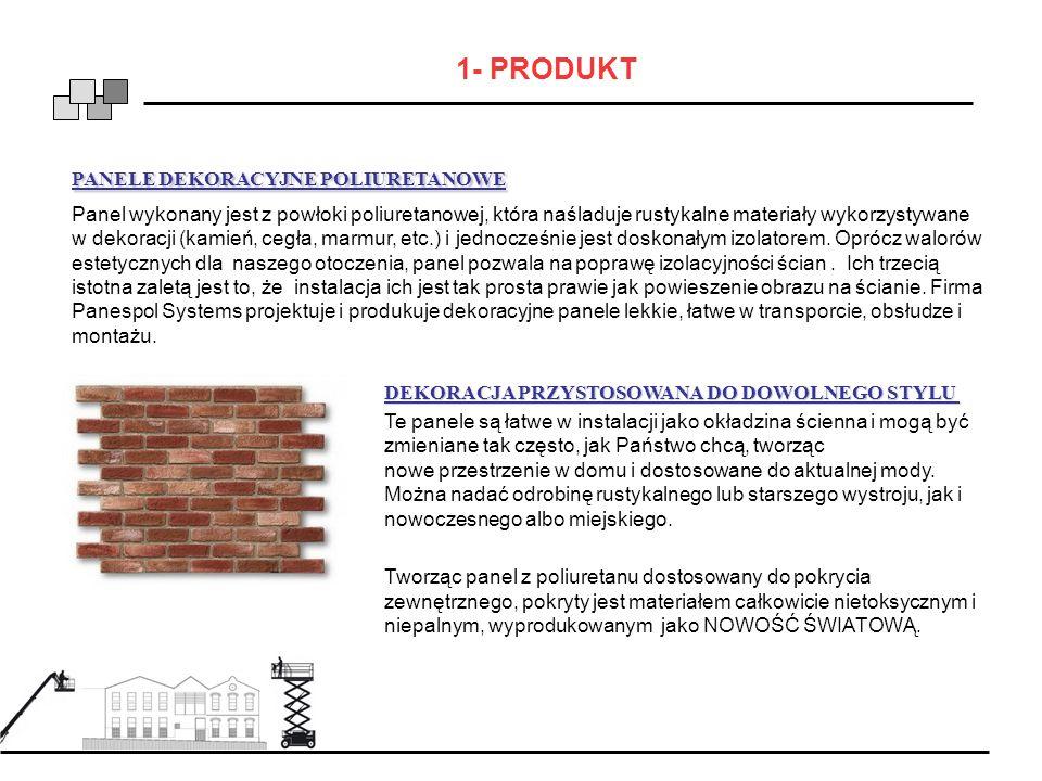 1- PRODUKT PANELE DEKORACYJNE POLIURETANOWE Panel wykonany jest z powłoki poliuretanowej, która naśladuje rustykalne materiały wykorzystywane w dekora