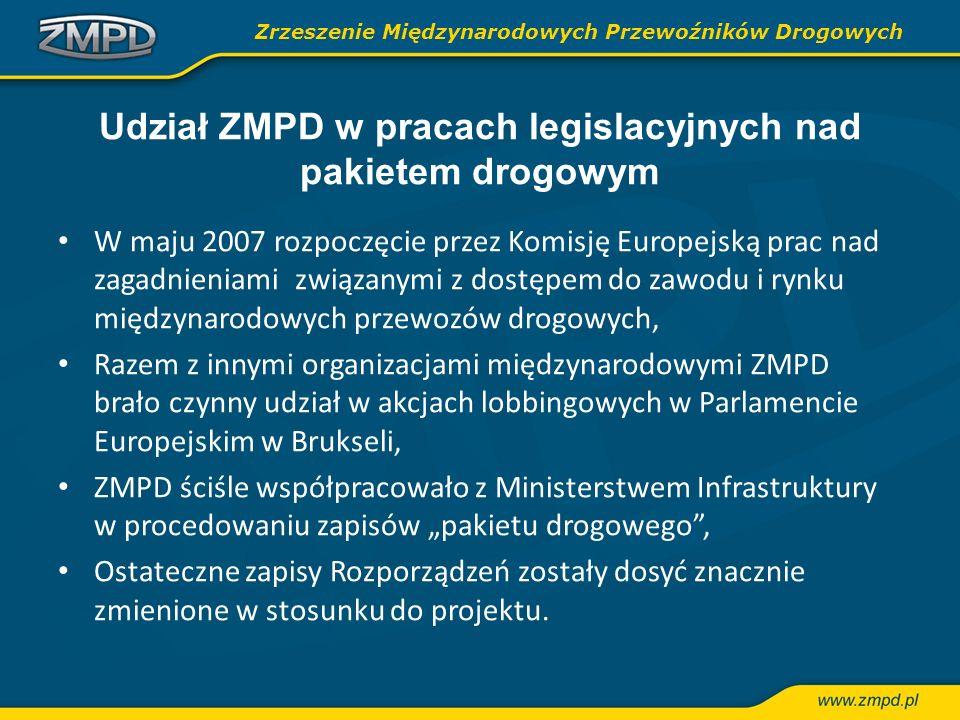 Udział ZMPD w pracach legislacyjnych nad pakietem drogowym W maju 2007 rozpoczęcie przez Komisję Europejską prac nad zagadnieniami związanymi z dostęp