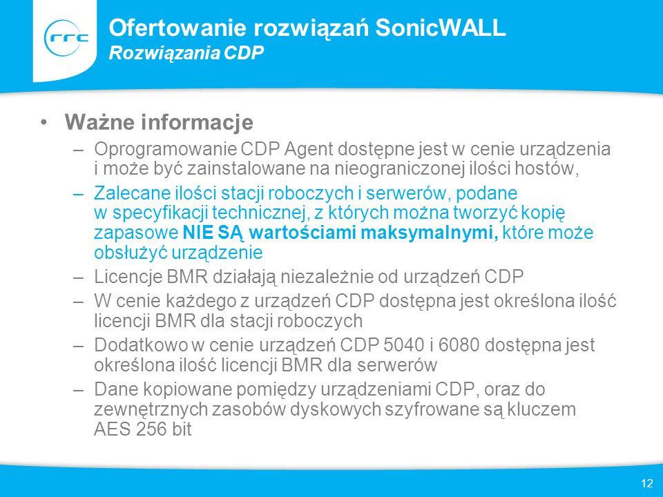 12 Ofertowanie rozwiązań SonicWALL Rozwiązania CDP Ważne informacje –Oprogramowanie CDP Agent dostępne jest w cenie urządzenia i może być zainstalowan