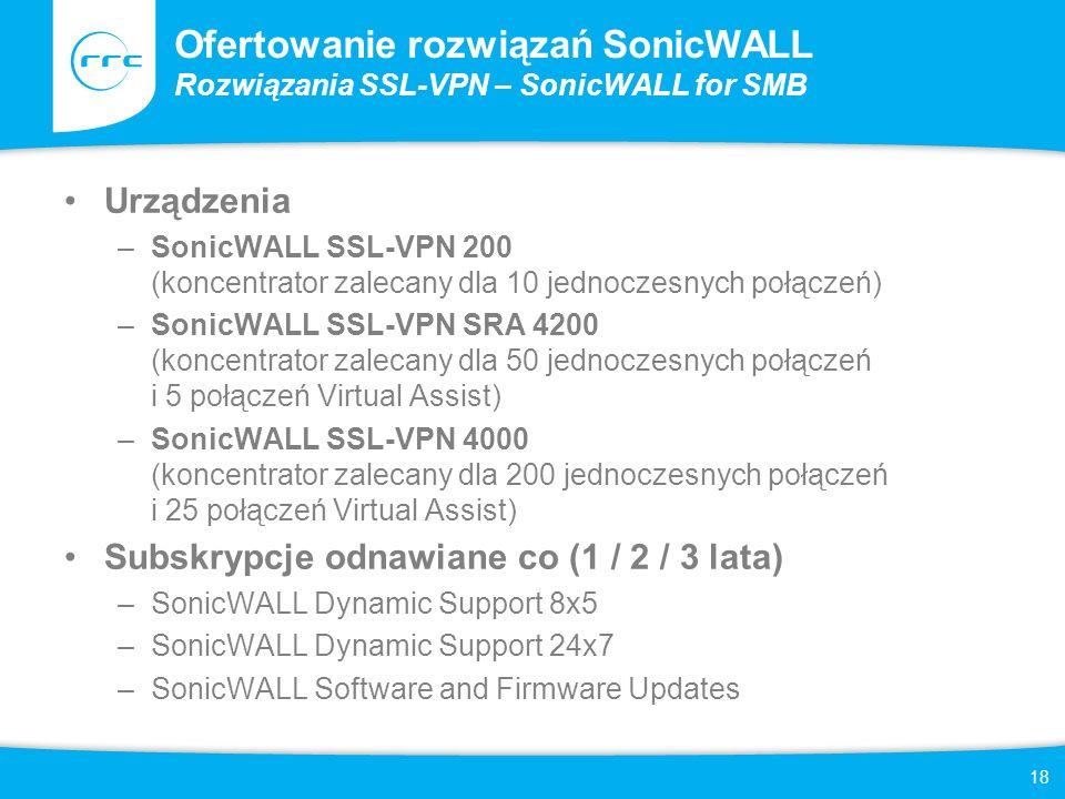 18 Ofertowanie rozwiązań SonicWALL Rozwiązania SSL-VPN – SonicWALL for SMB Urządzenia –SonicWALL SSL-VPN 200 (koncentrator zalecany dla 10 jednoczesny