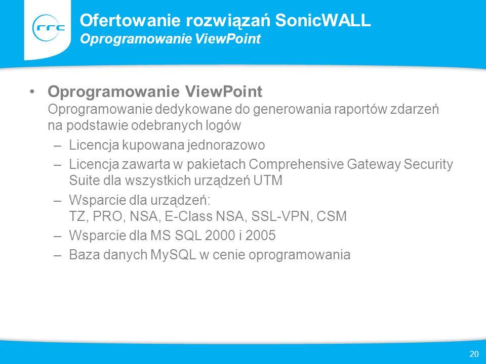 21 Ofertowanie rozwiązań SonicWALL Rozwiązania Global Management System i UMA Oprogramowanie Global Management System Oprogramowanie dedykowane do generowania raportów zdarzeń na podstawie odebranych logów, monitorowania stanu urządzeń oraz scentralizowanej konfiguracji polityk bezpieczeństwa –SonicWALL GMS 10 (25) Node Software License Licencja kupowana jednorazowo na 10 lub 25 hostów –SonicWALL GMS Node Software Upgrade Licencja kupowana jednorazowo, rozszerzająca ilość zarządzanych hostów o: 5 / 10 / 25 / 100 / 250 / 1000 –Wsparcie dla urządzeń: TZ, PRO, NSA, E-Class NSA, SSL-VPN, CSM, CDP oraz urządzeń firm trzecich poprzez SNMP – Wsparcie dla MS SQL 2000 i 2005 –Baza danych MySQL w cenie oprogramowania