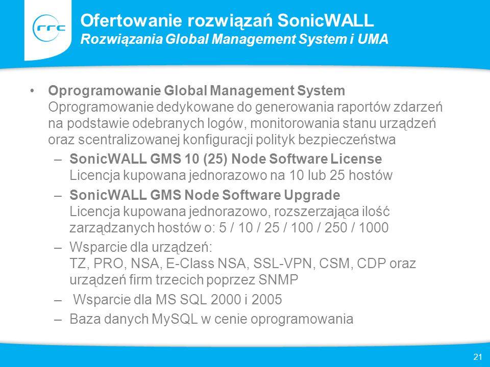 22 Ofertowanie rozwiązań SonicWALL Rozwiązania Global Management System i UMA Wsparcie techniczne dla SonicWALL GMS Usługi wsparcia technicznego dla rozwiązań SonicWALL GMS oraz urządzeń SonicWALL UMA dostępne są w subskrypcjach na 1 / 2 / 3 lata dla odpowiedniej ilości zarządzanych urządzeń: 1 / 5 / 10 / 25 / 100 / 250 / 1000 –SonicWALL GMS E-Class 24x7 Software Support Subskrypcja zapewniająca wsparcie techniczne dla infrastruktury zarządzanej przez SonicWALL Global Management System lub SonicWALL UMA –SonicWALL Comprehensive GMS E-Class 24x7 Support Subskrypcja zapewniająca wsparcie techniczne dla infrastruktury zarządzanej przez SonicWALL Global Management System, oraz przedłużenie gwarancji dla wszystkich zarządzanych urządzeń –SonicWALL UMA EM5000 Hardware Maintenance - 1 Appliance Subskrypcja zapewniająca przedłużenie gwarancji dla urządzenia SonicWALL UMA EM5000