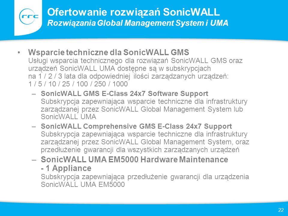 22 Ofertowanie rozwiązań SonicWALL Rozwiązania Global Management System i UMA Wsparcie techniczne dla SonicWALL GMS Usługi wsparcia technicznego dla r