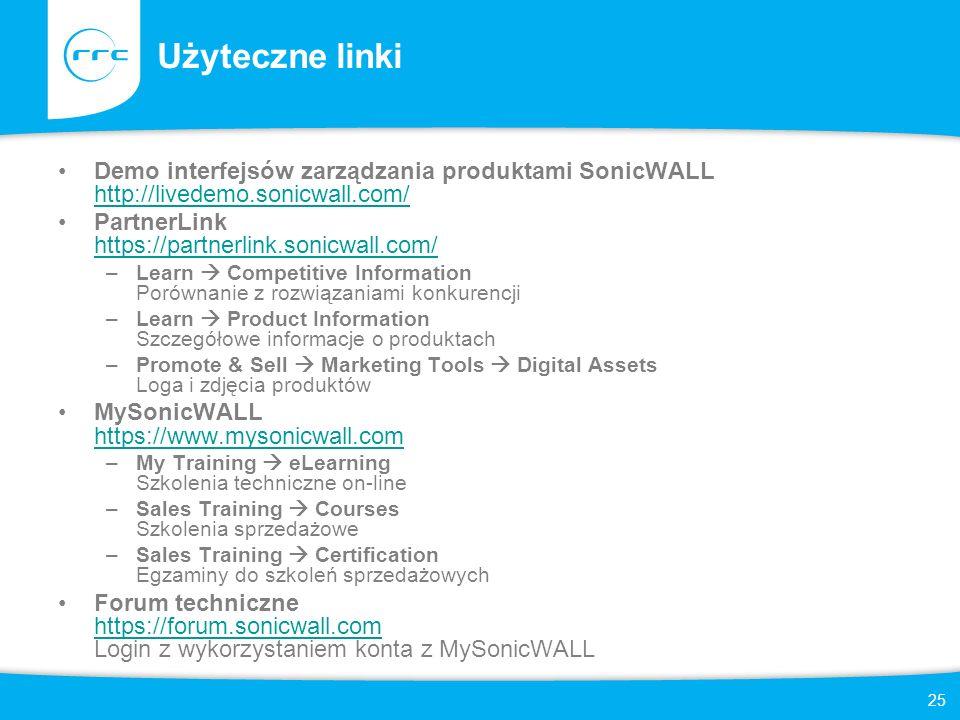 25 Użyteczne linki Demo interfejsów zarządzania produktami SonicWALL http://livedemo.sonicwall.com/ http://livedemo.sonicwall.com/ PartnerLink https:/