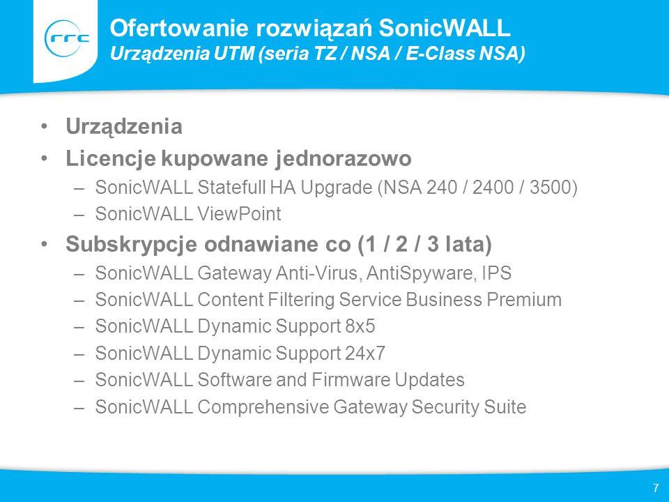 8 Ofertowanie rozwiązań SonicWALL Urządzenia UTM (seria TZ / NSA / E-Class NSA) SonicWALL Comprehensive Gateway Security Suite zawiera: –SonicWALL Gateway Anti-Virus, AntiSpyware, IPS –SonicWALL Content Filtering Service Business Premium –SonicWALL Dynamic Support 24x7 –SonicWALL ViewPoint Dostępne produkty (urządzenia + usługi) –Pakiety GAV/IPS/Application Firewall Bundle Urządzenie + SonicWALL Gateway Anti-Virus, AntiSpyware, IPS (1 rok) zalecany zakup usług wsparcia technicznego –Pakiety TotalSecure Urządzenie + SonicWALL Comprehensive Gateway Security Suite (1 rok)