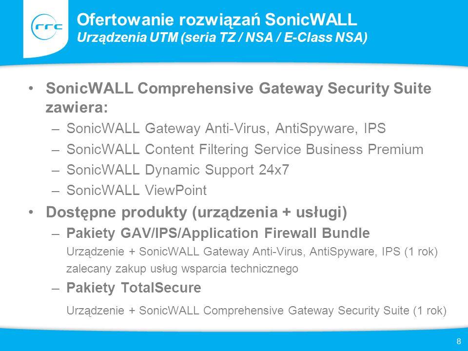 8 Ofertowanie rozwiązań SonicWALL Urządzenia UTM (seria TZ / NSA / E-Class NSA) SonicWALL Comprehensive Gateway Security Suite zawiera: –SonicWALL Gat