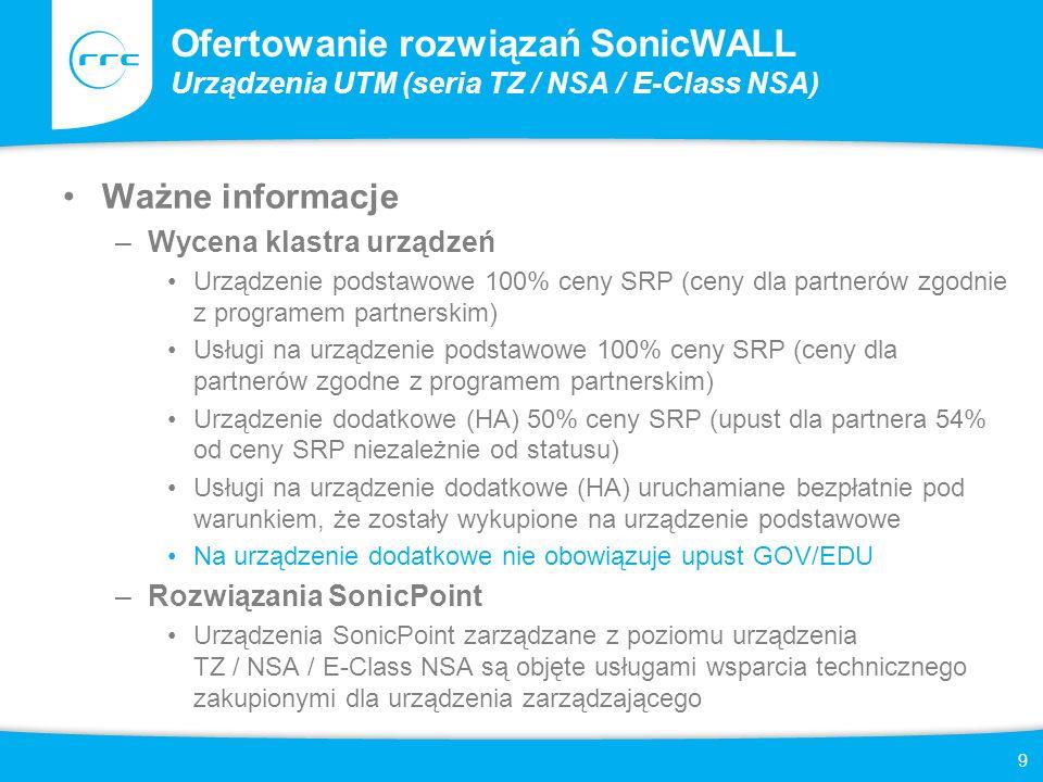 10 Ofertowanie rozwiązań SonicWALL Rozwiązania CDP Urządzenia Dyski zamienne CDP Replacement HD 750 GB (tylko dla urządzeń CDP 5040 i 6080) SonicWALL CDP 6080 4 Disk Pack Upgrade Kit (dodatkowa przestrzeń dyskowa tylko dla urządzeń CDP 6080) Licencje kupowane jednorazowo –SonicWALL CDP 110/210 5 Server Applications License (zapewnia możliwość tworzenia kopii zapasowych aplikacji serwerowych: MS AD, Exchange, SQL, tylko dla urządzeń CDP 110 i 210, w przypadku CDP 5040 i 6080 zawarta w cenie urządzenia) –SonicWALL CDP Site-to-Site Backup License – 1/3/5/10 Node (zapewnia możliwość spięcia większej ilości urządzeń CDP w celu stworzenia architektury Disaster Recovery) Subskrypcje odnawiane co (1 / 2 / 3 lata) –Usługi wsparcia technicznego 8x5 –Usługi wsparcia technicznego 24x7 –SonicWALL 5 / 10 / 25 / 50 / 100 GB Of Offsite Storage For CDP Series (przestrzeń dyskowa na zewnętrznych serwerach SonicWALL)