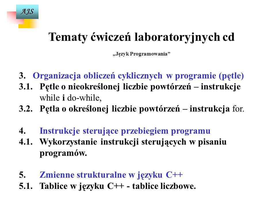 AJS Tematy ćwiczeń laboratoryjnych Język Programowania 1. 1.Ogólna struktura i podstawowe elementy programu źródłowego w C++ - program sekwencyjny 1.1